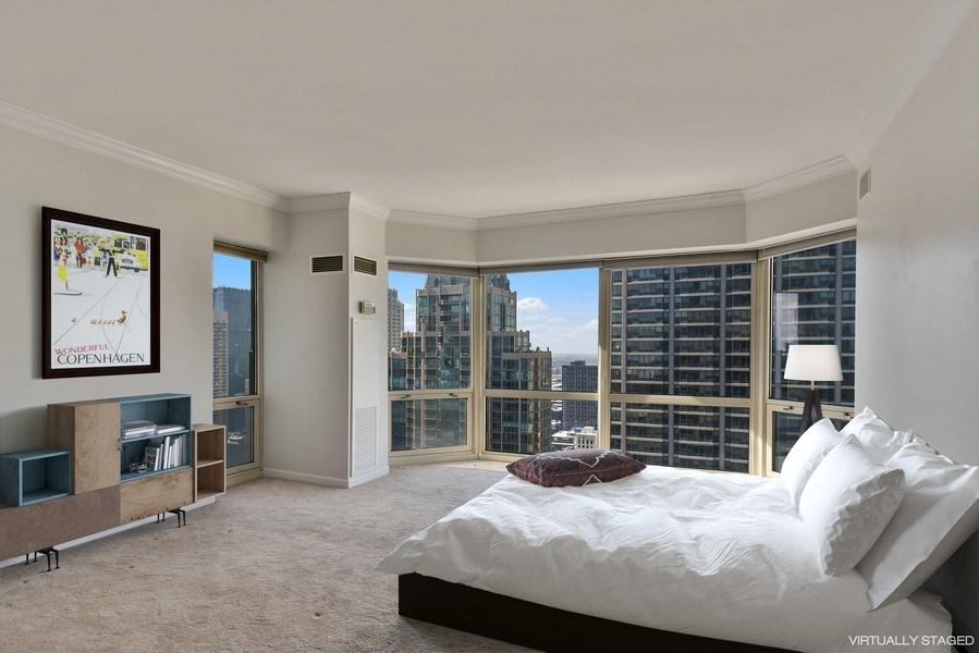 Real Estate Photography - 100 E Huron, 3701, Chicago, IL, 60601 - Master Bedroom
