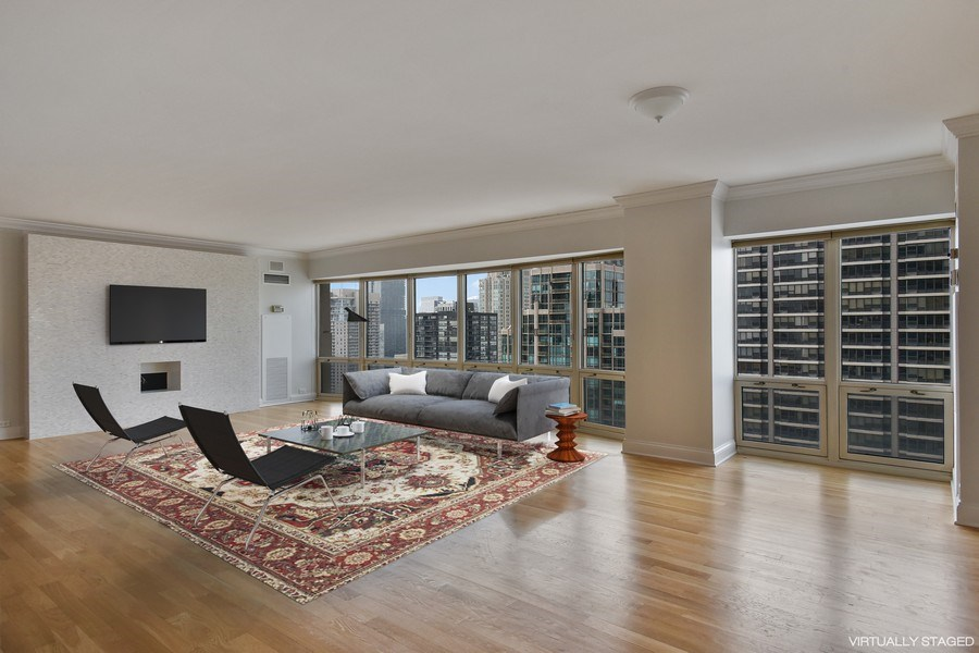 Real Estate Photography - 100 E Huron, 3701, Chicago, IL, 60601 - Living Room / Dining Room