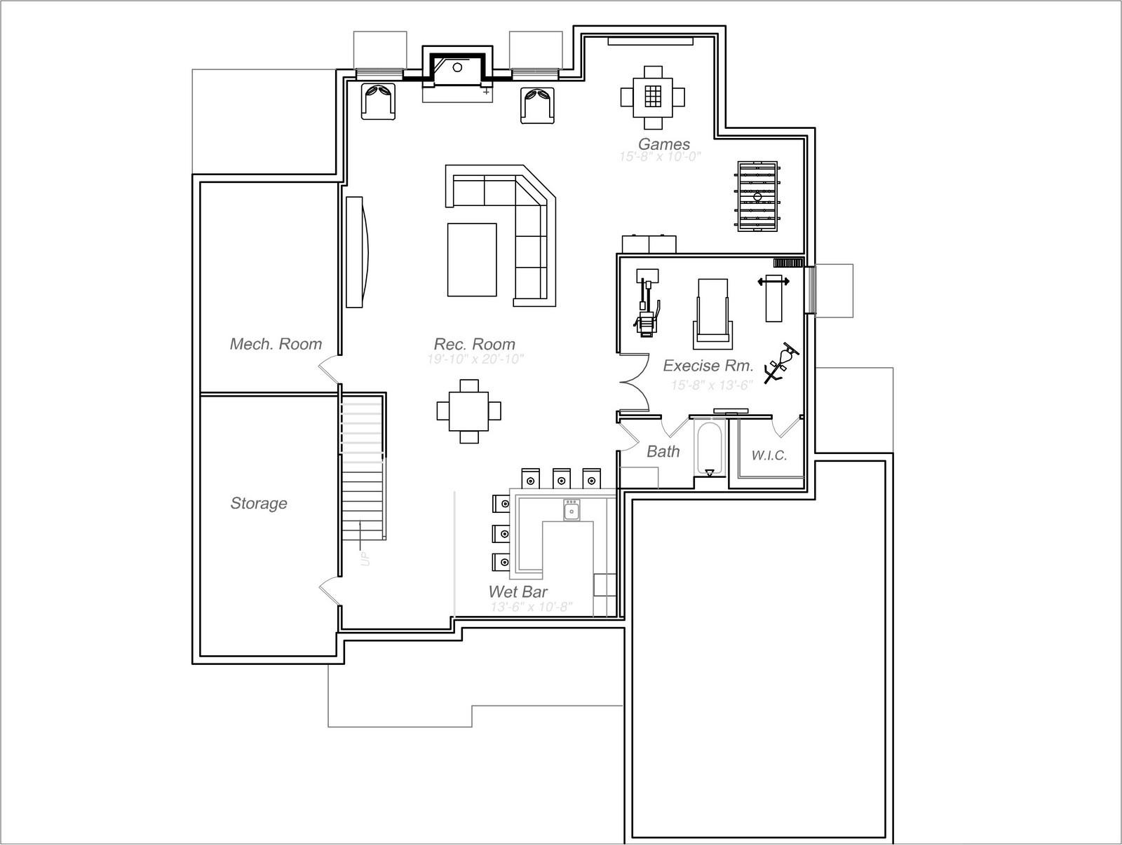 Real Estate Photography - 231 Woodlawn Ave, Winnetka, IL, 60093 - Basement Plan 231 Woodlawn Ave, Glencoe