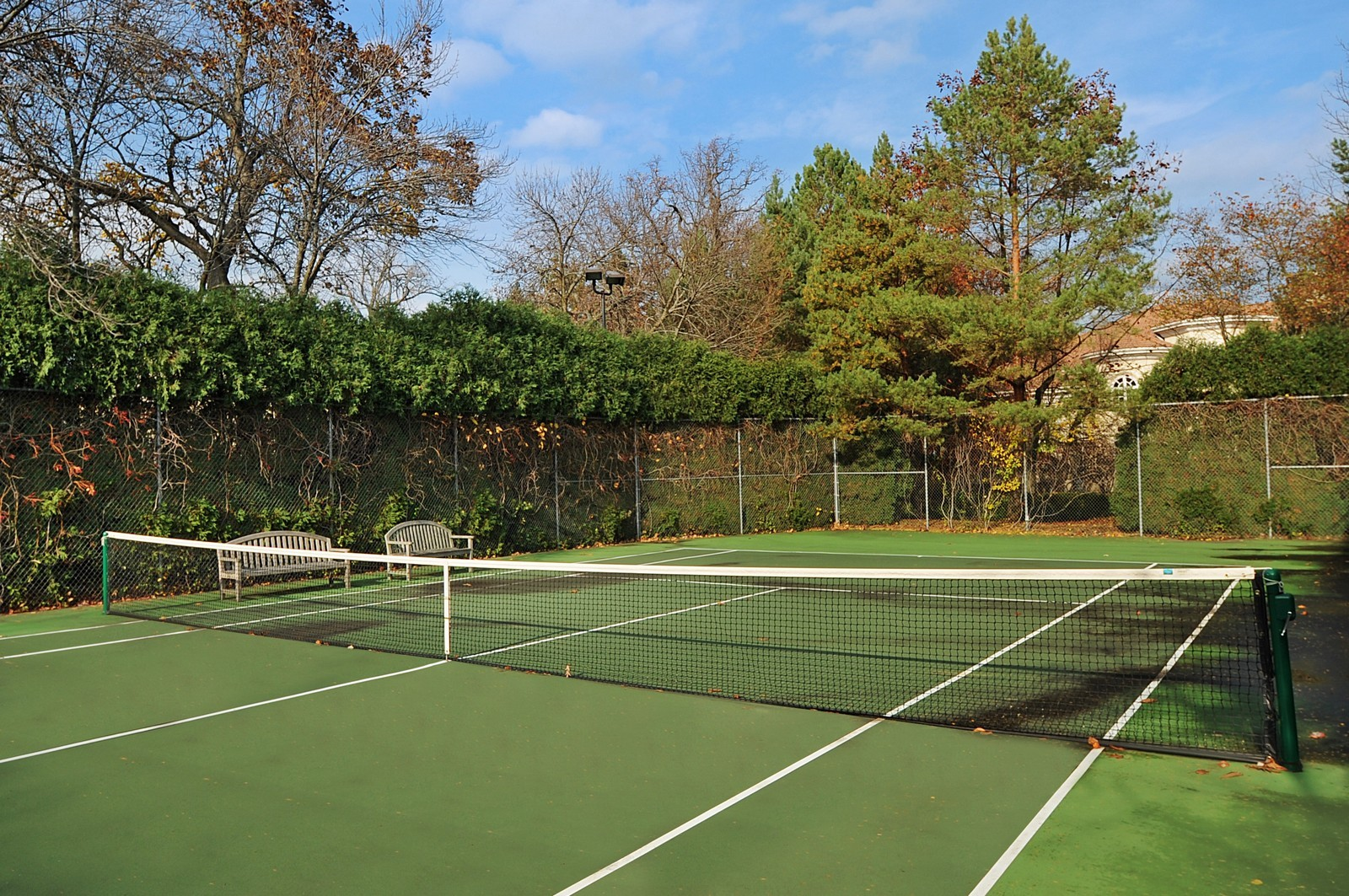 Real Estate Photography - 973 Sheridan Rd, Winnetka, IL, 60093 - Tennis Court