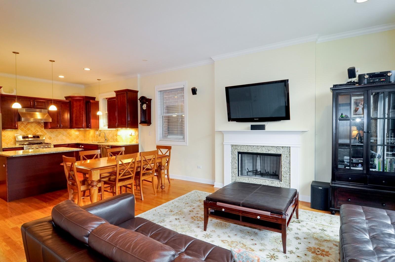 Real Estate Photography - 1846 W Armitage, Unit 2E, Chicago, IL, 60622 - Kitchen / Living Room