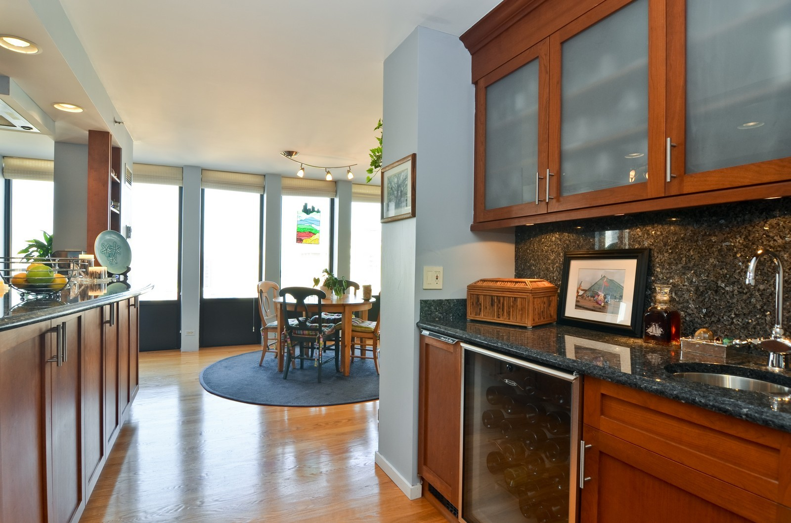 Real Estate Photography - 1230 N. State Parkway, Unit 26BC, Chicago, IL, 60610 - Wet bar with built in wine fridge & ice maker