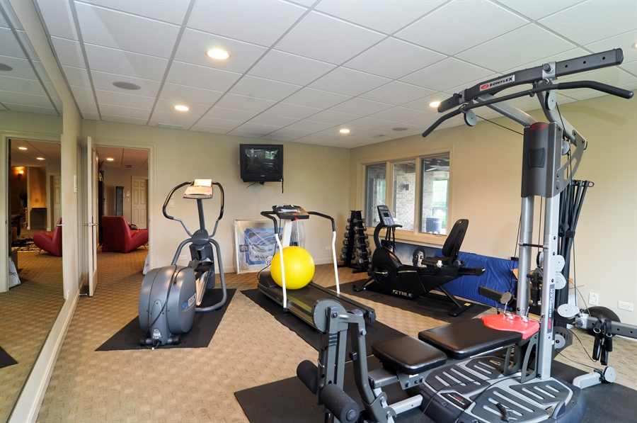 Real Estate Photography - 205 Honey Lake Court, North Barrington, IL, 60010 - Lower Level Exercise Room