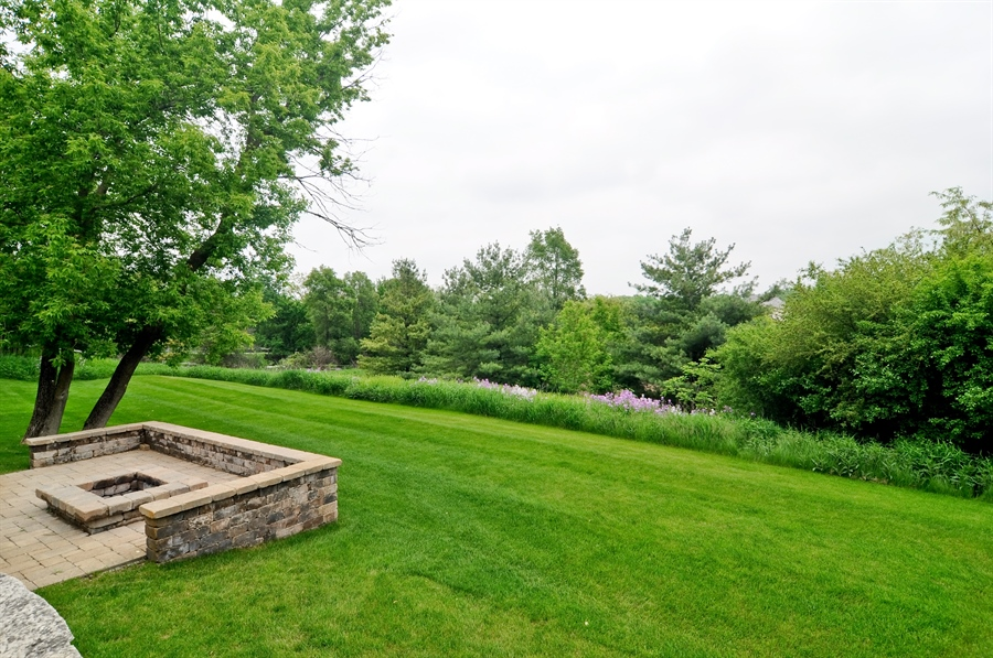 Real Estate Photography - 205 Honey Lake Court, North Barrington, IL, 60010 - Fire Pit & Back Exterior View