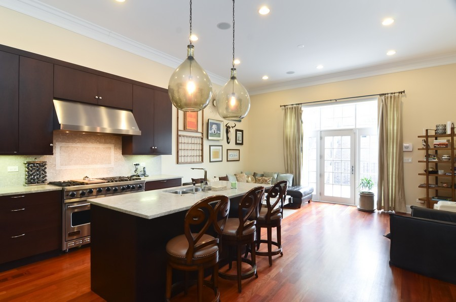 Real Estate Photography - 1627 N. Bell, Chicago, IL, 60647 - Family Room / Kitchen