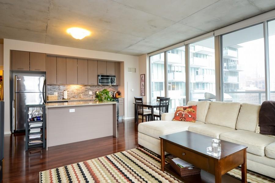Real Estate Photography - 659 W Randolf, Unit 1014, Chicago, IL, 60661 - Kitchen / Living Room