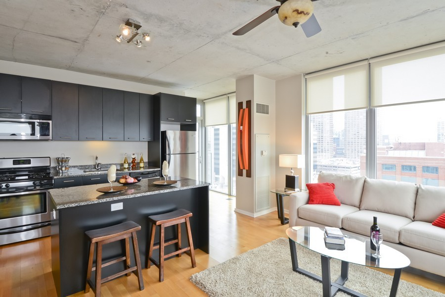 Real Estate Photography - 659 W Randolph, Unit 1013, Chicago, IL, 60661 - Kitchen / Living Room