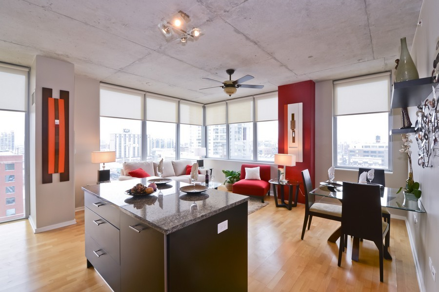 Real Estate Photography - 659 W Randolph, Unit 1013, Chicago, IL, 60661 - Kitchen / Dining Room