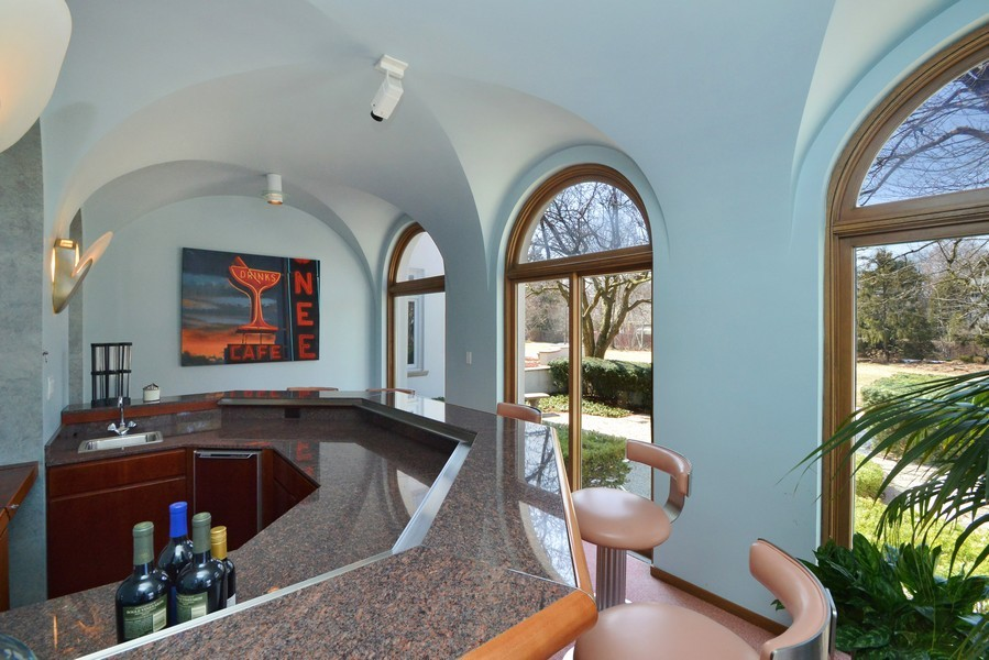 Real Estate Photography - 80 Locust Rd, Winnetka, IL, 60093 - Family Room Bar