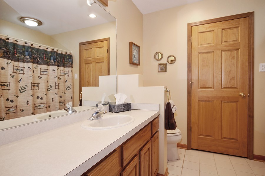 Real Estate Photography - 3830 N. Dwight Rd, Morris, IL, 60450 - Lower Level Bathroom (access to 3rd bedroom)