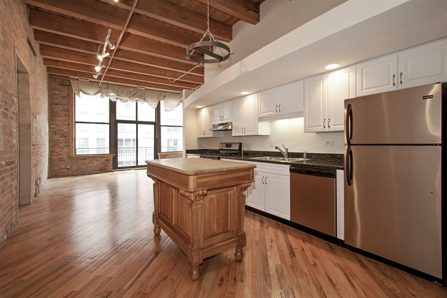 Real Estate Photography - 616 W Fulton Market, Unit 406, Chicago, IL, 60661 - Kitchen / Living Room