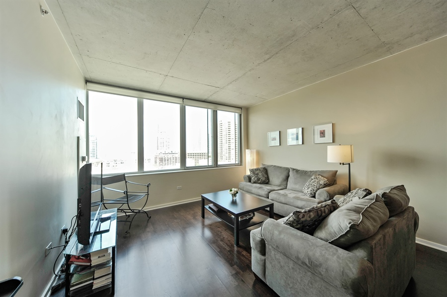 Real Estate Photography - 659 W Randolph, Unit 1007, Chicago, IL, 60661 - Living Room