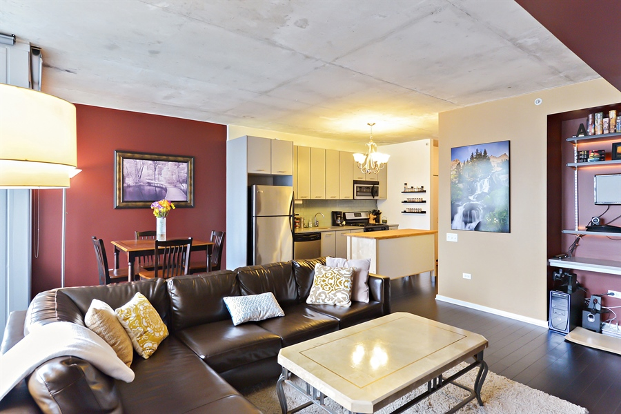 Real Estate Photography - 659 W Randolph, Unit 1215, Chicago, IL, 60661 - Kitchen / Living Room