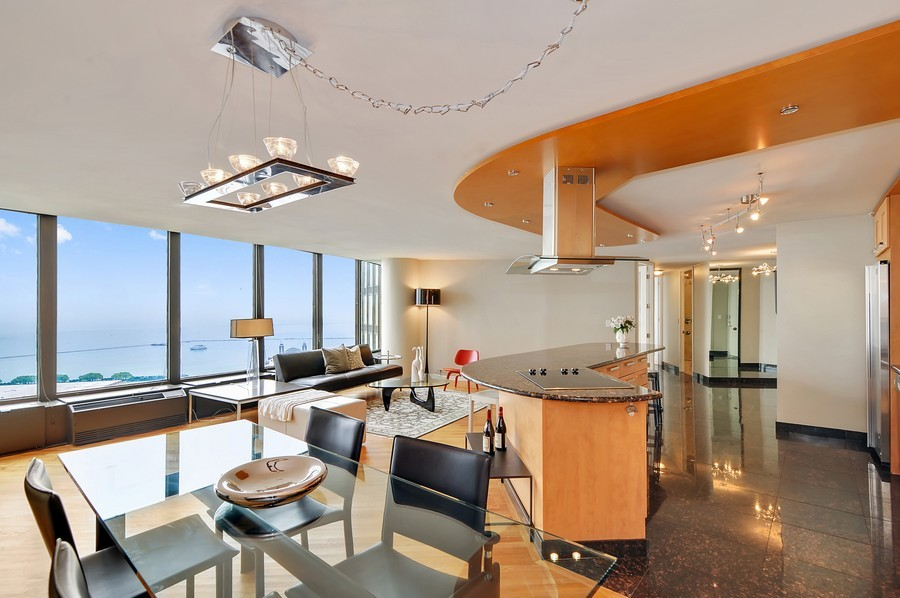 Real Estate Photography - 505 N. Lake Shore Dr., 3905, Chicago, IL, 60611 - Living/Dining Rooms