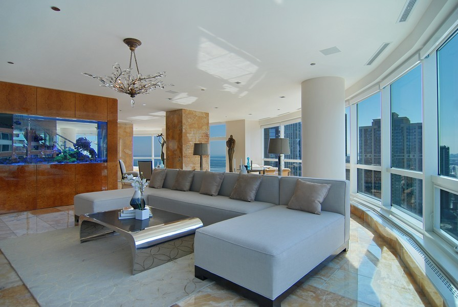 Real Estate Photography - 415 E North Water St, Unit 3205, Chicago, IL, 60611 - Living Room