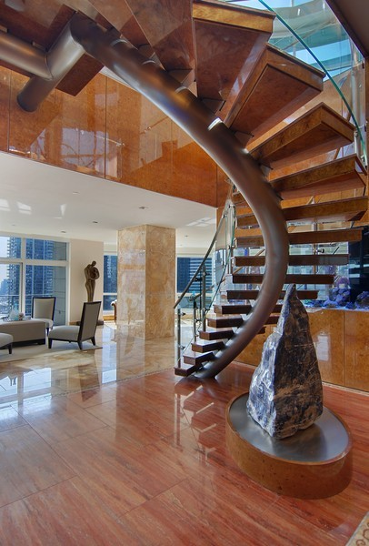 Real Estate Photography - 415 E North Water St, Unit 3205, Chicago, IL, 60611 - Staircase
