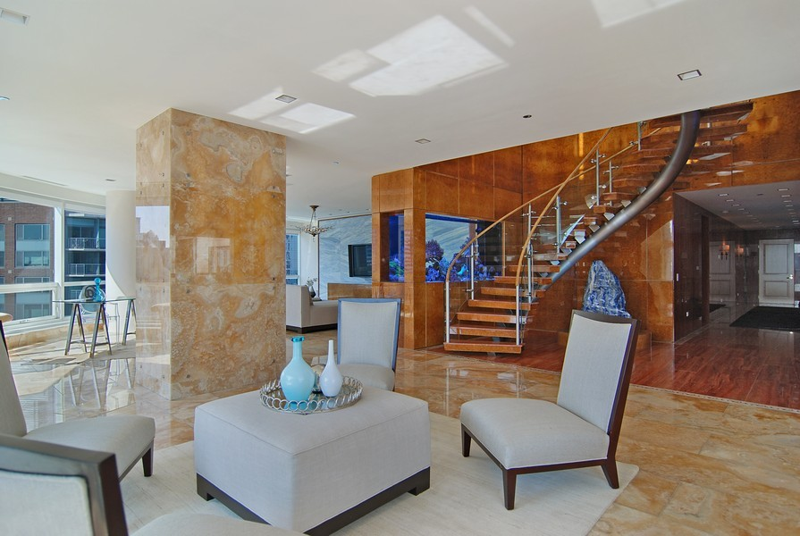 Real Estate Photography - 415 E North Water St, Unit 3205, Chicago, IL, 60611 - Foyer/Living Room