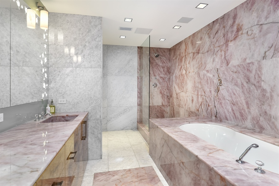 Real Estate Photography - 415 E North Water St, Unit 3205, Chicago, IL, 60611 - Master Bathroom