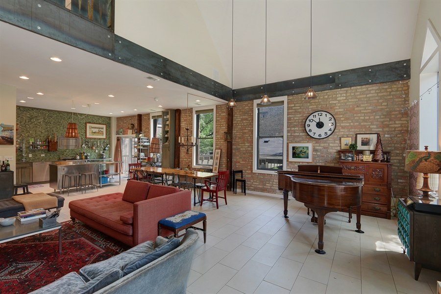 Real Estate Photography - 3030 W Cortland, Chicago, IL, 60647 - Kitchen / Living Room