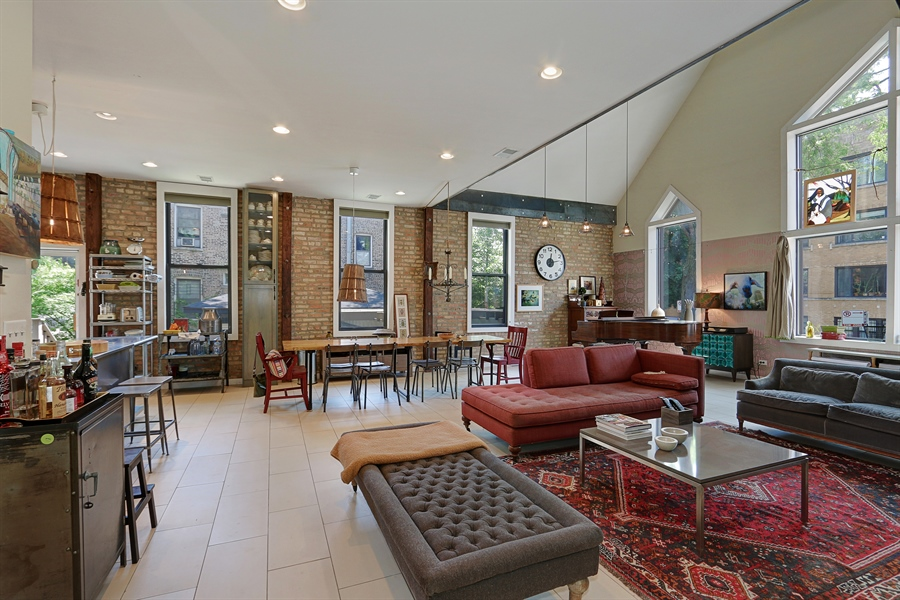 Real Estate Photography - 3030 W Cortland, Chicago, IL, 60647 - Living Room / Dining Room