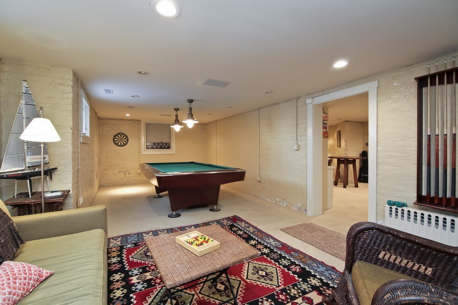 Real Estate Photography - 1236 Hinman Ave, Evanston, IL, 60201 - Basement Rec Room