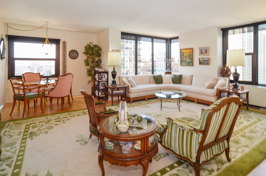 Real Estate Photography - 3150 North Lake Shore Drive, 17F, Chicago, IL, 60657 - Living Room