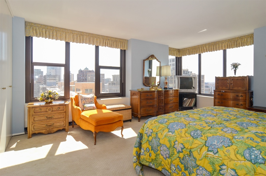 Real Estate Photography - 3150 North Lake Shore Drive, 17F, Chicago, IL, 60657 - Master Bedroom