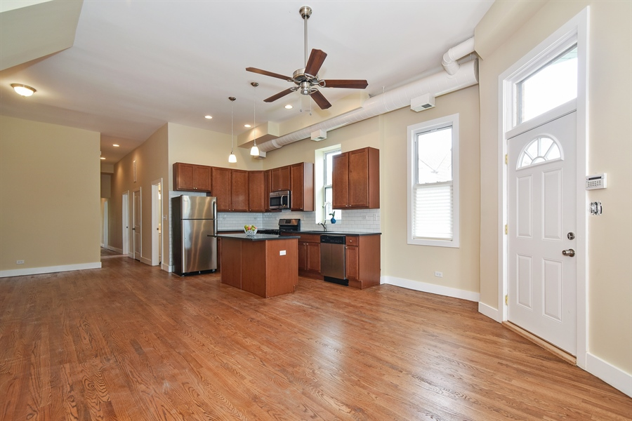 Real Estate Photography - 3659 W Shakespeare, Chicago, IL, 60647 - Kitchen / Dining Room
