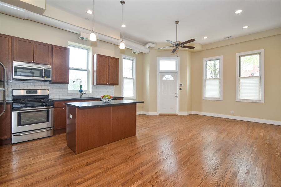 Real Estate Photography - 3659 W Shakespeare, Chicago, IL, 60647 - Family Room / Kitchen