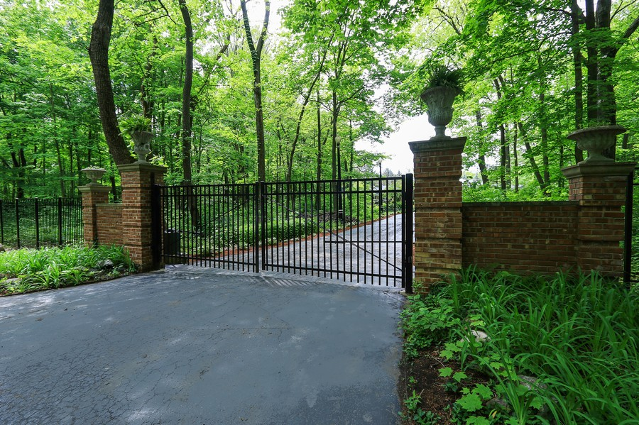 Real Estate Photography - 720 Thornmeadow Rd, Riverwoods, IL, 60015 - Gated Entry With Security Gate