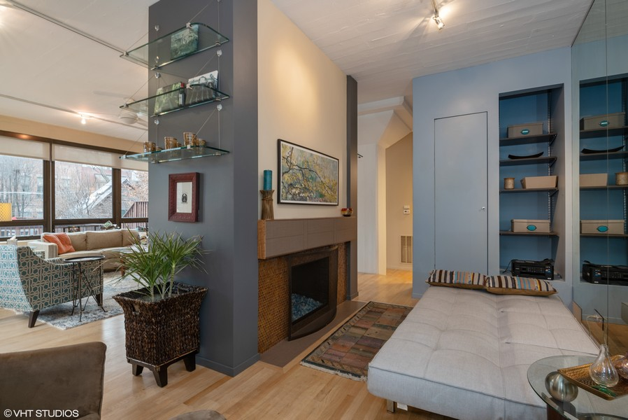 Real Estate Photography - 1855 N Halsted St, 4, Chicago, IL, 60614 - Den With Guest Bed