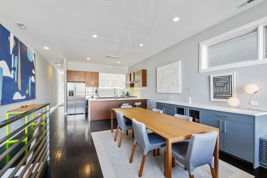 Real Estate Photography - 2532 N. Linden, 3, chicago, IL, 60647 - Kitchen / Dining Room