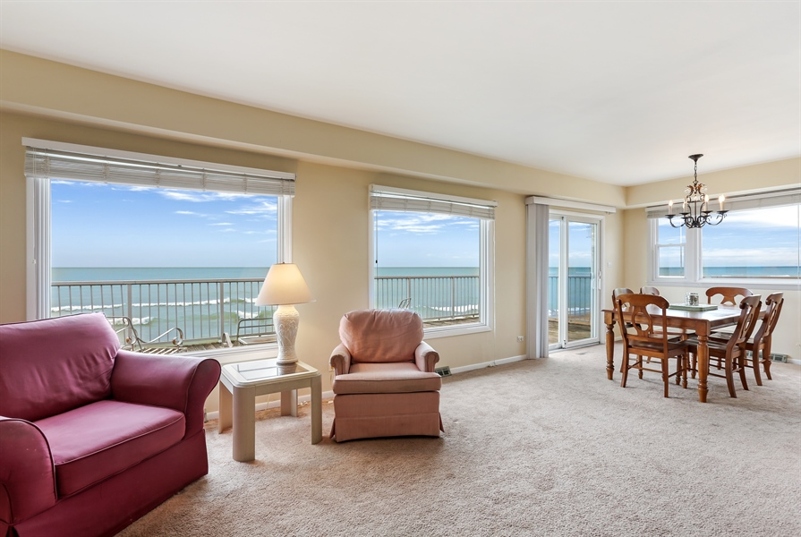 Real Estate Photography - 3040 Lake Shore Drive, Long Beach, IN, 46360 - Living Room / Dining Room