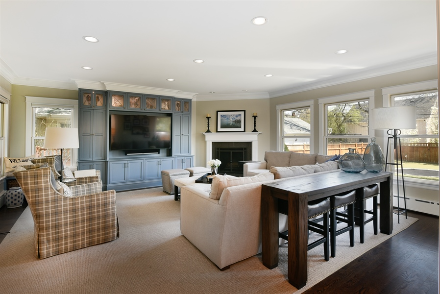 Real Estate Photography - 1133 Ashland, Wilmette, IL, 60091 - Family Room with FP Overlooking Beautiful Backyard