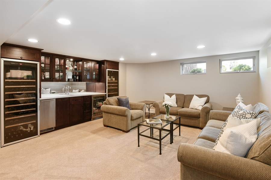 Real Estate Photography - 1133 Ashland, Wilmette, IL, 60091 - LL FR with Kitchenette & Two Wine Refrigerators