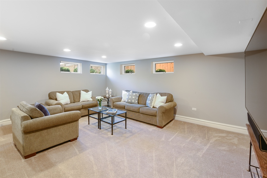 Real Estate Photography - 1133 Ashland, Wilmette, IL, 60091 - Lower Level 2nd Family Room View
