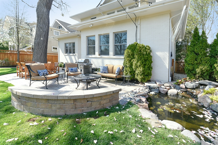 Real Estate Photography - 1133 Ashland, Wilmette, IL, 60091 - Backyard Patio w / Koi Pond