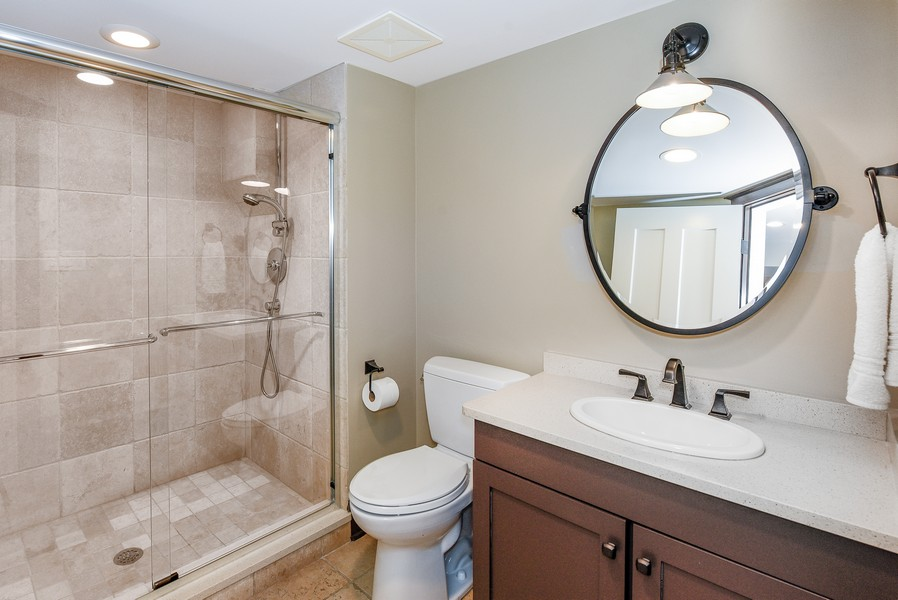 Real Estate Photography - 1133 Ashland, Wilmette, IL, 60091 - Lower Level Full Bathroom