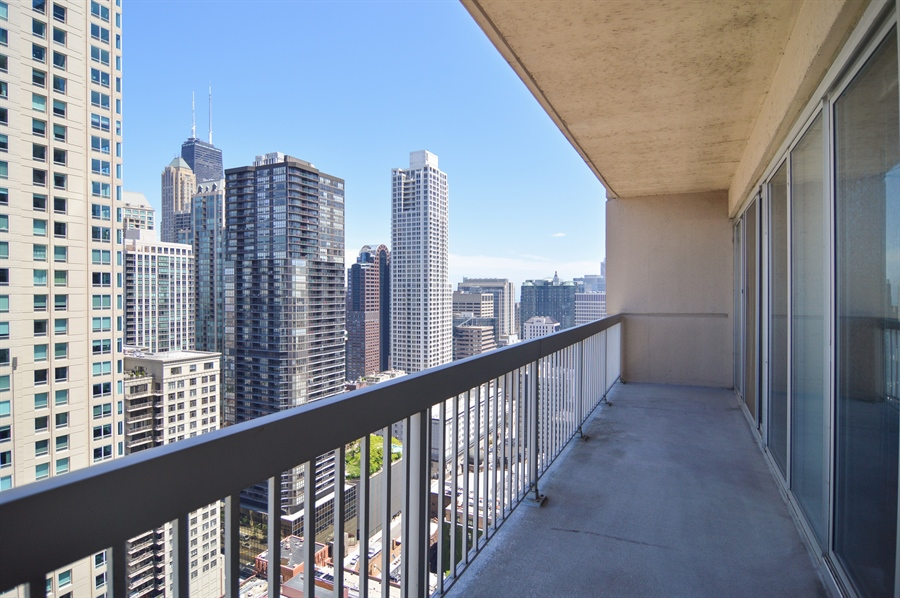 Real Estate Photography - 545 N Dearborn St, Apt 3502, Chicago, IL, 60654 - Balcony