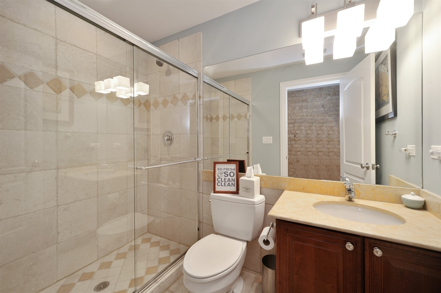 Real Estate Photography - 3933 N Marshfield Ave, Unit 2s, Chicago, IL, 60613 - 2nd Bathroom