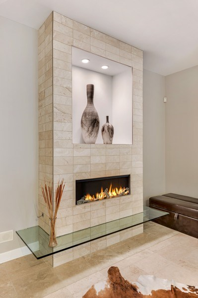 Real Estate Photography - 460 W Superior, Unit 6, Chicago, IL, 60610 - Sitting Room Fireplace