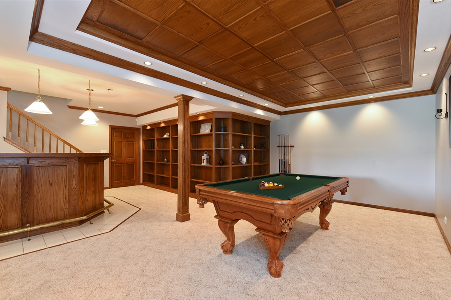 Real Estate Photography - 1587 Far Hills Dr, Bartlett, IL, 60103 - Rec Room with a Wet Bar and Pool Table