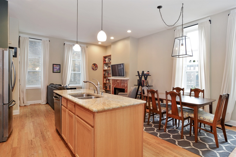 Real Estate Photography - 1532 N Paulina, Unit L, Chicago, IL, 60622 - Kitchen / Dining Room