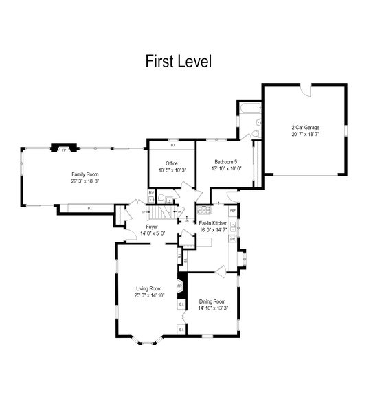 Real Estate Photography - 349 Woodland, Highland Park, IL, 60035 - First Level Floor Plan