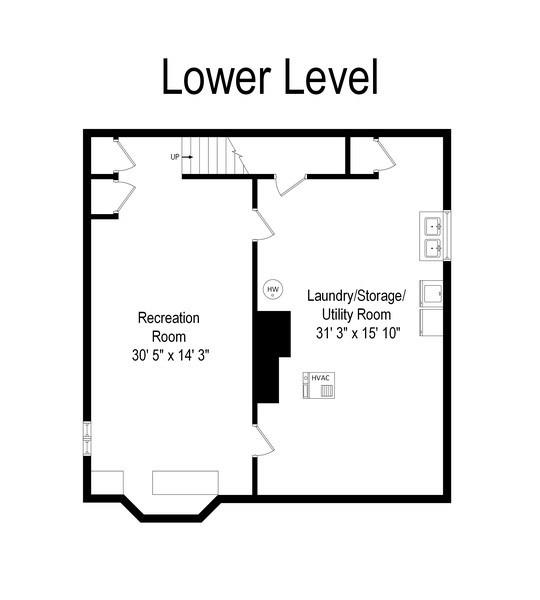 Real Estate Photography - 349 Woodland, Highland Park, IL, 60035 - Basement Floor Plan