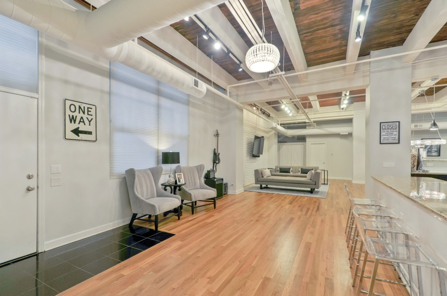 Real Estate Photography - 312 N. May #2IJ, Chicago, IL, 60607 - Living Rm/Family Rm