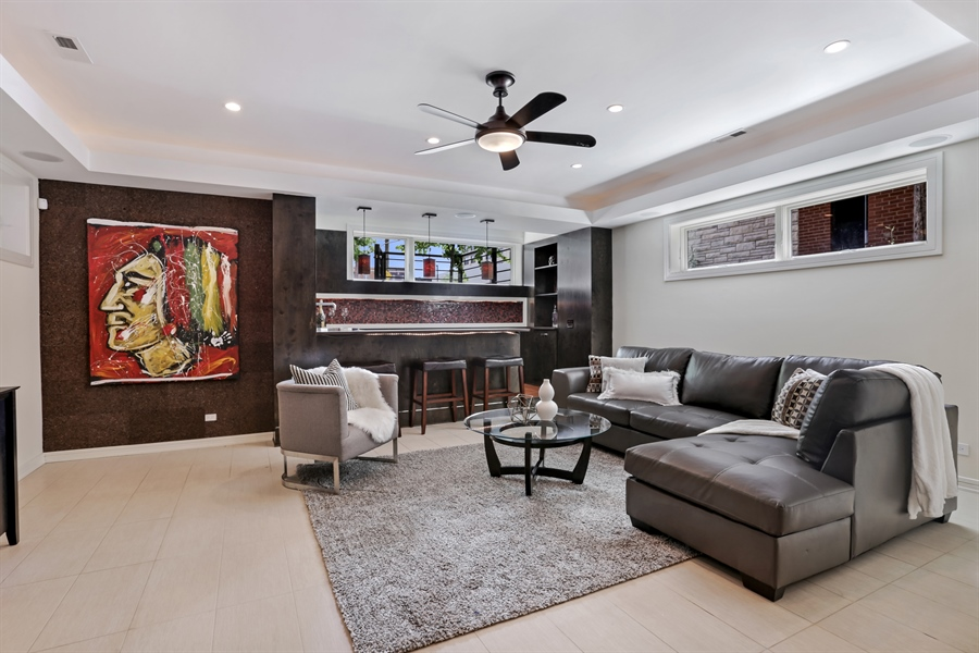 Real Estate Photography - 1544 West Henderson Street, Chicago, IL, 60657 - Lower Level Recreation Room
