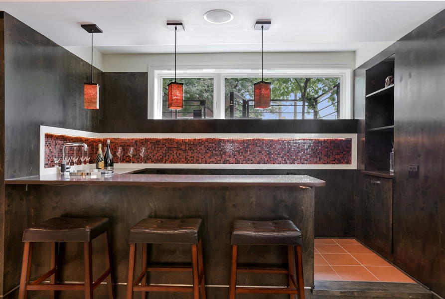 Real Estate Photography - 1544 West Henderson Street, Chicago, IL, 60657 - Lower Level Recreation Room Bar
