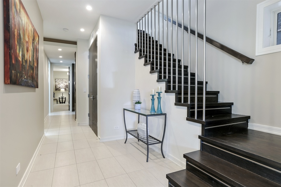Real Estate Photography - 1544 West Henderson Street, Chicago, IL, 60657 - Staircase to Lower Level