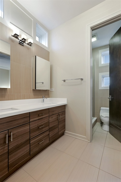 Real Estate Photography - 1544 West Henderson Street, Chicago, IL, 60657 - Second Level Full Bathroom